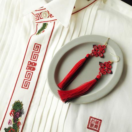 バイカラータッセル(赤×黒)タティングレースのピアス/イヤリング チャイナ風