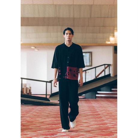 KN03-01 半袖ニットフラワージャカードシャツ 01 WHT