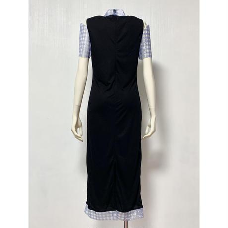 DR03-01 ギンガムレース半袖ドレス
