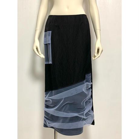 SK03-01 チュールレイヤーサテンスカート 02 BL