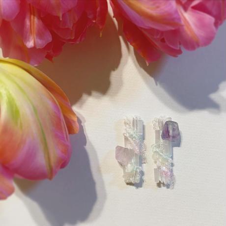 天然石×ホワイトピアス