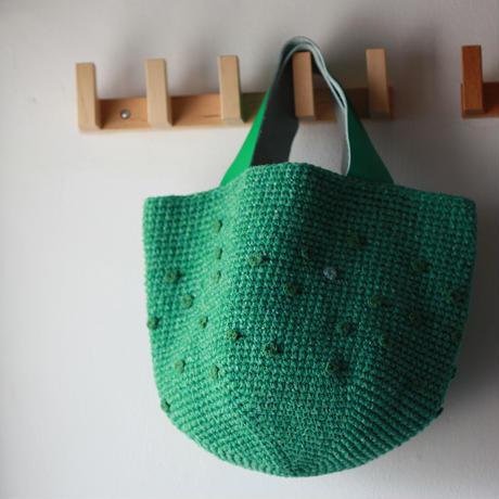 Sale! グリーン×グリーンdotのバッグ