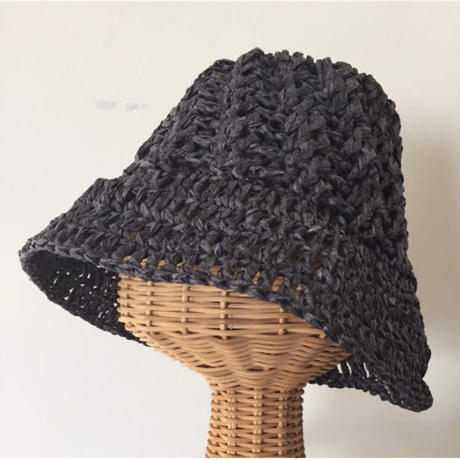 送料込み 和紙糸で編むななめ模様の帽子-印刷済み編み図のみ
