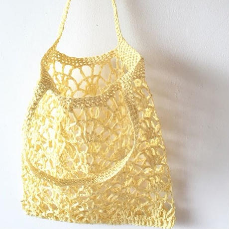 ペーパーラフィアの透かし編みバッグ -編み図データのみ-