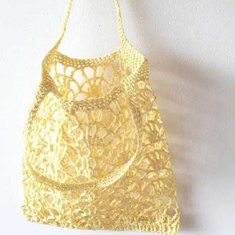 送料込み ペーパーラフィアの透かし編みバッグ -印刷済み編み図のみ
