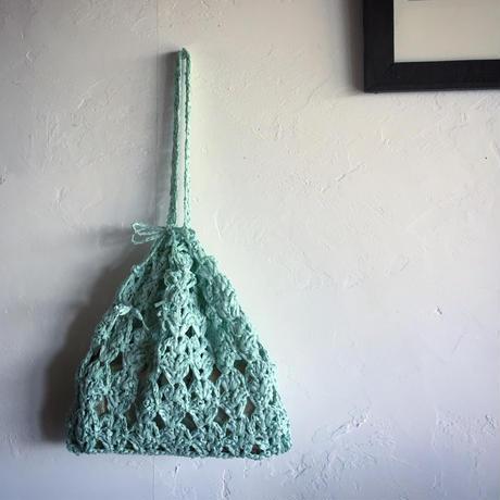 送料込み リーフィーで編むリーフ模様のきんちゃくバッグー印刷済み編み図のみ