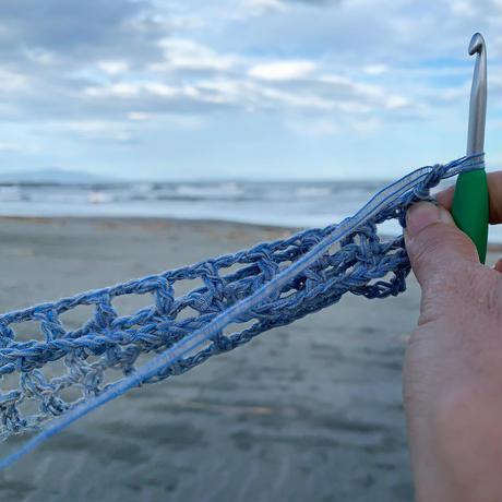 ラダーテープで編むグリッド模様のメッシュバッグ -編み図データのみ-