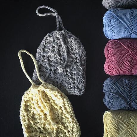 送料込み 立体パイナップル模様のきんちゃくポーチ -印刷済み編み図のみ