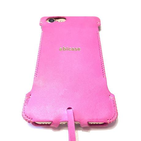 【予約受付】abicase8 wj(iPhone8用)ウォレットジャケット/イタリアンレザー/ピンク