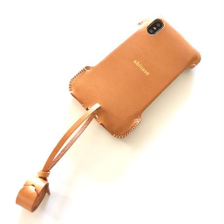 【即納可】abicaseXSJ/iPhoneX用シンプルジャケット/サドルレザー