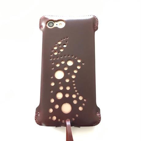 1点物【コードバン製】iPhone 7 sj 林檎印 バーガンディ