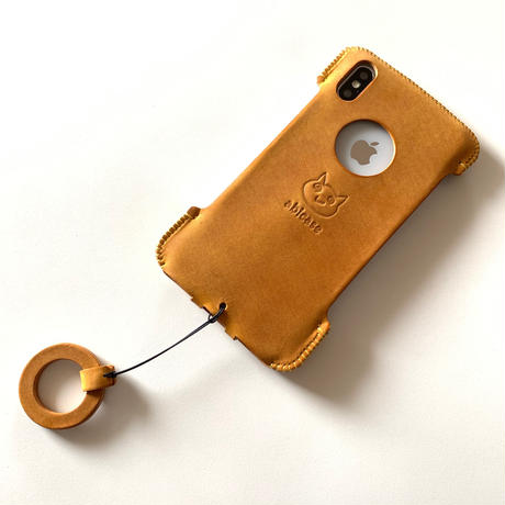 【iPhone XS Max】シンプルジャケット/イタリアンレザー/イエロー
