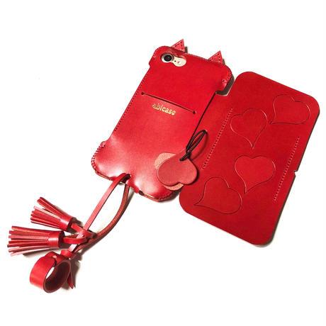 【1点物】abicase8FLAP/iPhone8用猫耳手帳ジャケット/ハート