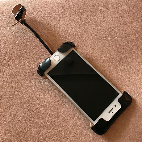 1点物【コードバン製】iPhone 7 sj 林檎印 オイルコードバン黒