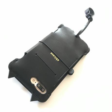 1点物【abicaseProflap】iPhone7Plus 黒猫手帳ジャケット
