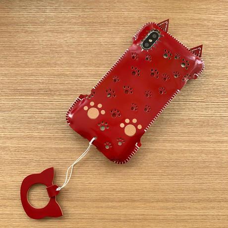1点物【iPhone XS 】カーマインレッドコードバン赤猫ウォレットジャケット