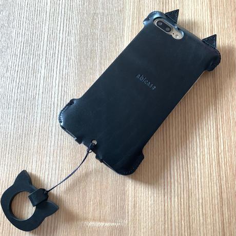 1点物【iPhone8Plus】黒猫アビケース /黒猫リングストラップ仕様