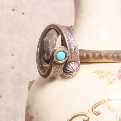 NORTH WORKS ノースワークス / MORGAN DOLLAR TWIST RING SLIM/TURQUOISE & MINI CONCHA / N-205