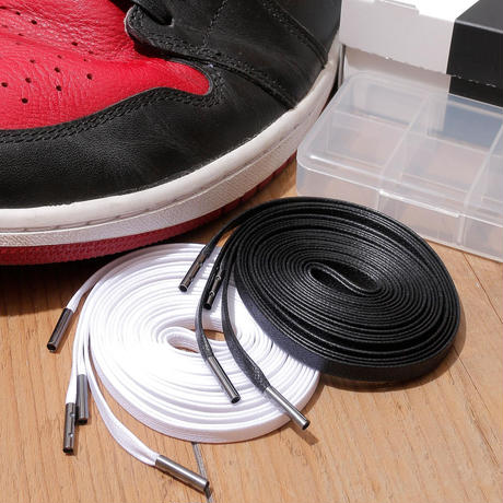KIXSIX / WAXED SHOELACE 2P / BLACK-WHITE/BLACK