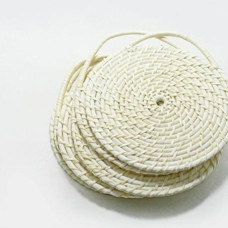 雅竹 籐鍋敷き 白 (手付き 特大)