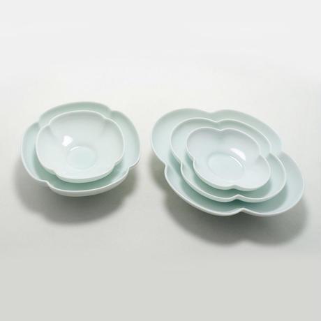 瑞々 木瓜長鉢5寸 青白