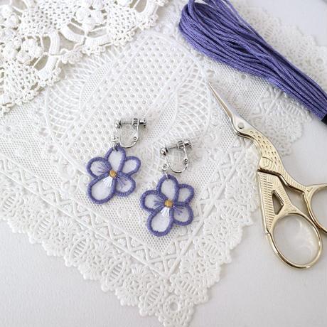 purple violet イヤリング