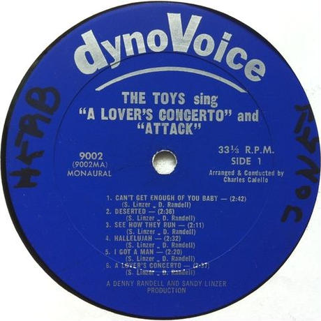 "Toys, The ‎– Sing ""A Lover's Concerto"" And ""Attack!"""