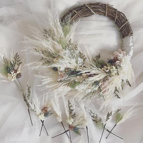 wreathe bouquet『 amber nuts & pampas』  3 items set...