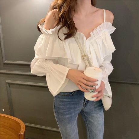 肩だしトップス シンプル ストラップレス シャツ セクシー フリル 袖コンシャス 可愛い 韓国ファッション オルチャン T10051