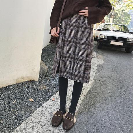 グレンチェック巻きスカート ツイード スリット入り チェック柄 ハイウエスト オルチャン 韓国 ファッション S3001