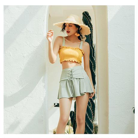 水着 ハイウエスト スプリットスカート ギャザー ふんわり スリーピース 紐リボン 韓国ファッション オルチャン M10105