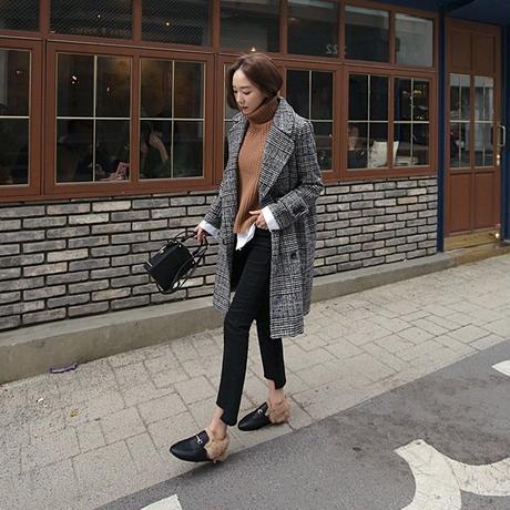 チェスターコート グレンチェック ロングコート チェスターコート レディース チェック柄 韓国ファッション【K10004】