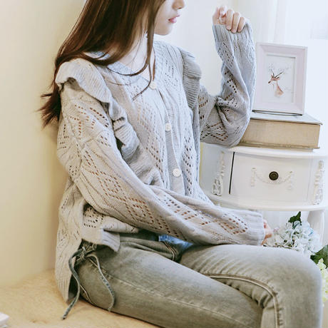 大人可愛いレディースフリルデザインボタン付き長袖カーディガン 韓国 ファッション T40037