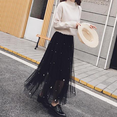 パールチュールロングスカート マキシ丈 レース 大人かわいい ガーリー 韓国 ファッション S30047