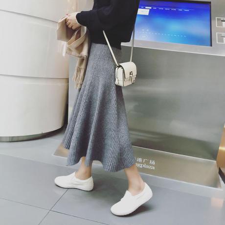 ニットフレアロングスカート リブニット ミモレ丈 大人かわいい オルチャン 韓国 ファッション S30045
