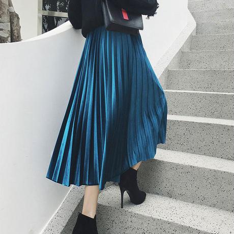 ロングスカート スカート レディース ハイウエスト シンプル フレア 韓国ファッション ベロア プリーツ 新作 S30061