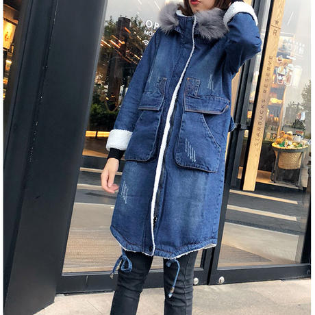 デニムジャケット レディース 裏ボア フード付 デニムコート ロングコート 大きいサイズ 韓国 ファッション K30035