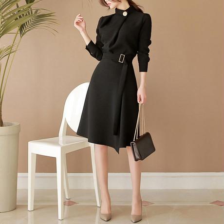 ブラックドレス パーティードレス 膝丈 結婚式 二次会 韓国ファッション D39005