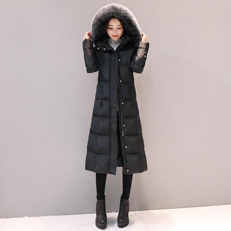 ファー付 ロングコート フード付ダウンコート 超ロングコート ダウンジャケット アウター 韓国 ファッション K30026