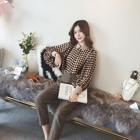 ブロックチェック柄シャツ 長袖 バイカラー オルチャン 大人かわいい 韓国 ファッション T30011