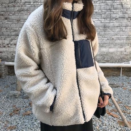 ボアブルゾン もこもこ ジャケット レディース カジュアル アウター 韓国ファッション オルチャン 【K3089】
