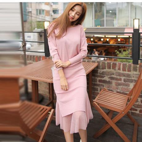 パール付きニットプルオーバー×チュール切替タイトスカートセットアップ セーター オルチャン 韓国 ファッション U30015