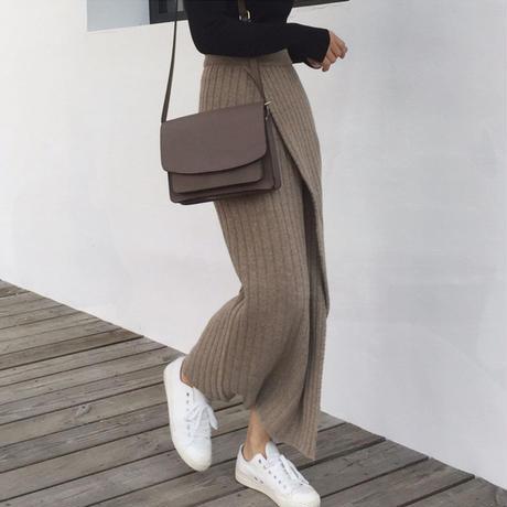 ニットラップロングスカート スカート レディース ロングスカート ニット 韓国ファッション 新作 S30064