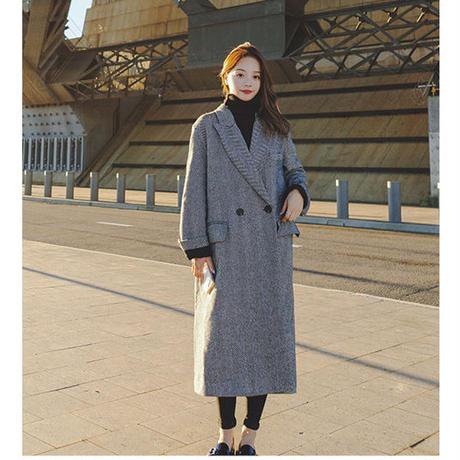 ロングチェスターコート ロングコート レディース チェスターコート 超ロングコート 超ロング丈コート 韓国 ファッション K30022