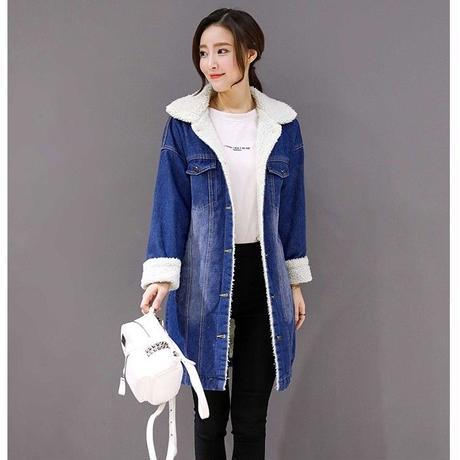 デニムジャケット レディース 裏ボア デニムコート ロングコート 大きいサイズ 韓国 ファッション K30036