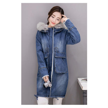デニムジャケット レディース 裏ボア ファー付 デニムコート ロングコート 大きいサイズ 韓国 ファッション K30034