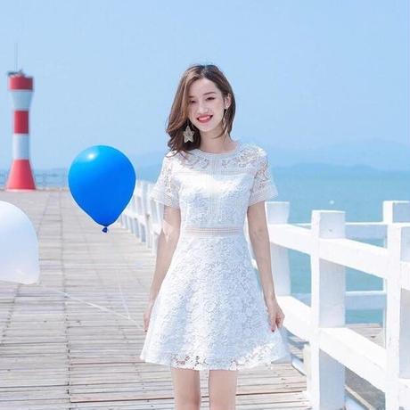 白いレースの清楚ガーリーフェミニンミニスカートワンピース 韓国 ファッション D4001