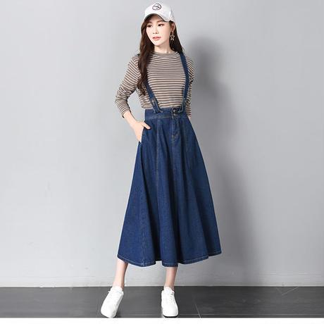 デニムフレアスカートオーバーオール 大人かわいい マキシ丈 ロング オルチャン 韓国 ファッション S30054