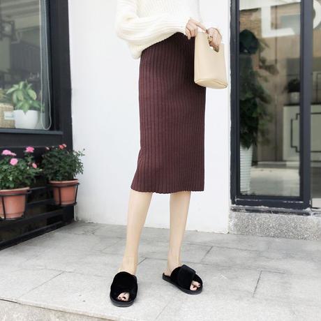ニットタイトスカート スリム スリット ハイウエスト オルチャン シンプル 韓国 ファッション S30052