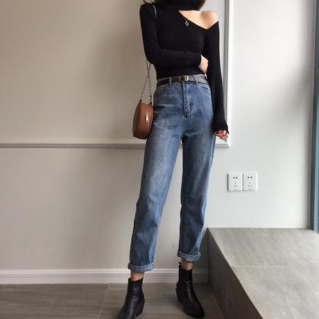 ハイウエストデニムストレートパンツ レトロ オルチャン テーパード 韓国 ファッション B3012